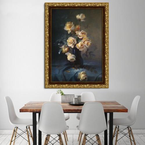 yellow roses in dark blue vase